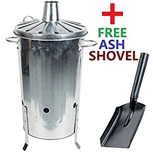 Crazygadget 18 Litre 18l Small Garden Galvanised Metal Incinerator Fire Burning Bin For Wood Paper Leaves Free Ash Shovel from CrazyGadget®