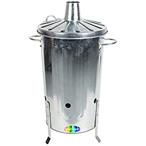 Crazygadget 18 Litre 18l Small Garden Galvanised Metal Incinerator Fire Burning Bin For Wood Paper Leaves from CrazyGadget®