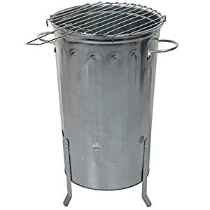 Crazygadget 18 Litre 18l Small Garden Galvanised Metal Incinerator Fire Burning Bin Pit And Bbq Barbeque Grill Set by CrazyGadget®
