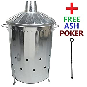 Crazygadget 90 Litre 90l Extra Large Galvanised Metal Incinerator Fire Burning Bin With Special Locking Lid Free Ash Poker by CrazyGadget