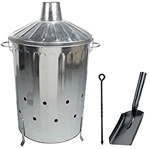 Crazygadget 90 Litre 90l Extra Large Galvanised Metal Incinerator Fire Burning Bin With Special Locking Lid Free Ash Shovel Poker from CrazyGadget®