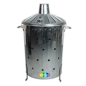 Crazygadget 90 Litre 90l Extra Large Galvanised Metal Incinerator Rapid Burn Fire Quick Burning Bin With Special Locking Lid Design Greater Ventilation Ash Shovel by CrazyGadget®