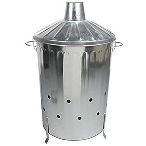 Crazygadget 90 Litre 90l Extra Large Galvanised Metal Incinerator Rapid Burn Fire Quick Burning Bin With Special Locking Lid Design Greater Ventilation Ash Shovel by CrazyGadget®