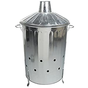 Crazygadget Small Medium Large Extra Large Galvanised Metal Incinerator Fire Burning Bin With Special Locking Lid 90 Litre from CrazyGadget®