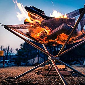 Cusfull Folding Burning Furnace Foldable Firewood Burning Stand Stainless Steel Grill Fireplace Fire Pit Outdoor from Cusfull
