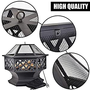 D4p Display4top Heavy Steel Hex Shape Fire Pit Fireplace Outdoor Home Garden Backyard Firepit by D4P