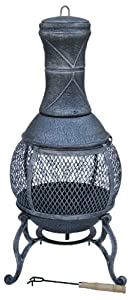 Deluxe Cast Iron Chimnea Bbq Heater Grill
