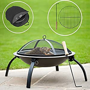 Deluxe Large Round Black Metal 57cm Patio Heater Garden Firepit Fire Pit Barbecue Barbeque Bbq With Poker W Free Carry Bag Cover by Lado