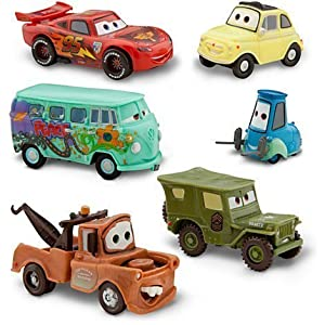 Disney Pixar Cars 2 Pit Crew 5 Pack Of Luigi Guido Sarge Fillmore And Mater Pvc Plastic from Disney