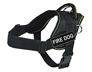 Dt Fun Works Harness Fire Dog Black With Yellow Trim Small - Fits Girth Size 56cm To 69cm by DEAN & TYLER