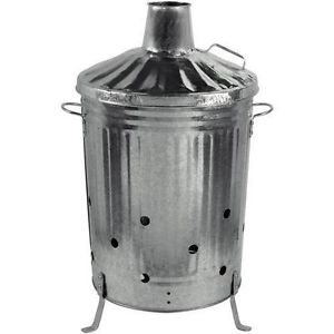 Durable Large Garden Burning Fire Incinerator Galvanised 90l Wood Leaves Rubbish Bin from ChoicefullBargain