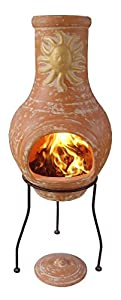 El Fuego Lolasol-75 75cm Lola Clay Chimenea With Sun Motive Includes Stand And Lid - Bronze from Gardeco