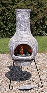 El Fuego Morena-100 100cm Morena Clay Chimenea Includes Stand And Lid - Grey by Gardeco