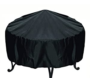 Elevavie Round Fire Pit Cover - Waterproof Weather Resistant Protective Garden Patio Outdoor Cover With Drawstring - Black by Elevavie