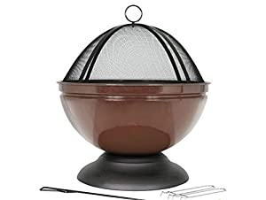 Enamelled Firepit With Grill Patio Heater Bronze from la Hacienda