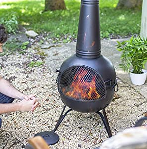 Extra Large 134cm Bronze Steel Chiminea With Bbq Grill