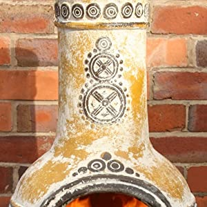 Eye Catching Azteca Large Yellow Outdoor Clay Chimenea - Outdoor Fun
