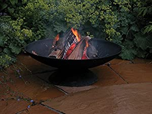 Fallen Fruits Cast Iron Round Fire Pit Firepit Patio Heater With Heat Resistant Fire Glove by Fallen Fruits