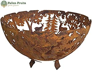 Fallen Fruits Laser Cut Cast Iron Half Round Fire Bowl Pit Patio Heater In Woodland Scene by Fallen Fruits