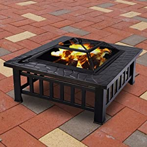 Fds Outdoor Garden Fire Pit Metal Firepit Heater Brazier Stove Square Table Patio Bbq from FDS