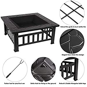 Femor Outdoor Patio Garden Fire Pit Multi Function Metal Square Table Stove With Waterproof Cover Black by Femor