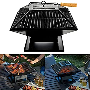 Fiay Outdoor Garden Fire Pit Firepit Brazier Square Stove Patio Heater W Bbq Grill by FiNeWaY