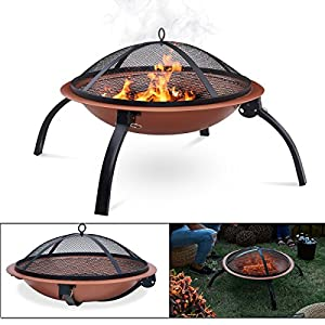 Fiay Stunning Large Round Copper And Black Folding Fire Pit - Comes With Portable Carry Bag And Bbq Grill Rack- Easy To Empty And Clean by FINEWAY.