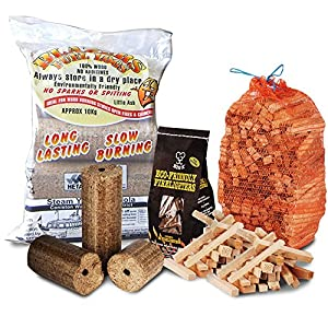 Fire Pit Chiminea Starter Pack Large Wood Heat Fuel Logs 3kg Kindling Eco Firelighters - Comes With Thechemicalhut Anti-bac Pen by The Chemical Hut