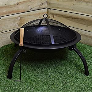 Fire Pit Firepit Brazier Outdoor Heater With Grill Bbq Barbeque Barbecue by HAMBLE DISTRIBUTION