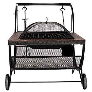 Fire Pit Firepit Brazier Stove Patio Heater Bbq Outdoor Garden Portable Wheels by Riana