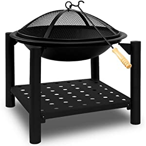 Fire Pit Garden Brazier Fire Basket Patio Heater Log Burner Garden Heating Square Firepit