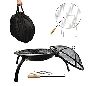 Fire Pitbbq Grill 4 Legslarge Round 57cm Folding Outdoor Firepit Foldable Garden Patio Fire Pit Heater With Cooking Grill And Carry Bag2 by GalleonFireplaces®