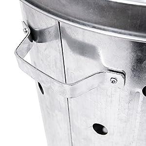 Fire Vida Galvanised Metal Incinerator Fire Bin Waste Burner Grey 75 Litre by Lassic