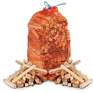 Fire Wood Pack- 15kg Of Kiln Dried Wooden Logs 3kg Kindling 96 Pk Of Eco Firelighters Clipper Lighter - Comes With The Log Hut Woven Sack by The Chemical Hut
