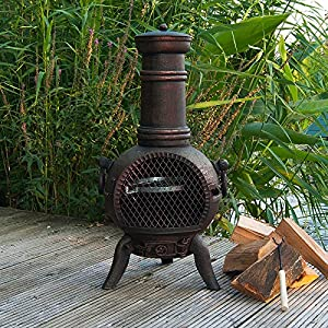 Firefox Chimineas - Athena Small 100 Cast Iron Chiminea - Bronze - 85cm 33 X 45cm 18 H X Dia from Firefox Chimineas
