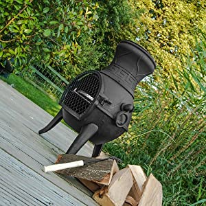 Firefox Chimineas - Pulsar 100 Cast Iron Chiminea - Black - 75cm 30 X 40cm 16 H X Dia by Firefox Chimineas