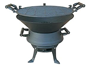 Firepit Bbq Fire Basket Outdoor Barbeque Grill Charcoal Cast Iron Barbecue Stand Bowl Camping Picnic Outfire Wood Log Burner Heater Outdoor Stove Garden Dining by E-Bargains