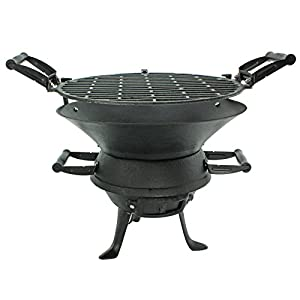First4spares Outdoor Fire Pit Bbq Basket Garden Barbeque Grill Stand Cast Iron With Handles by First4spares