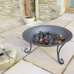 Flamba Fire Pit 27 Diameter Bowl On Legs With Mesh Safety Lid