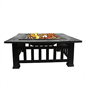Fobuy Fire Pit Bbq Heater Stove Brazier Metal Outdoor Garden Firepit Protective Cover Fire Pit Square Table by FOBUY