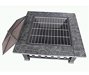 Foxhunter Outdoor Garden Steel Fire Pit Firepit Brazier Square Table Patio Heater Stove Black 32 Bbq