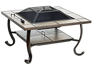 Foxhunter Outdoor Garden Steel Fire Pit Firepit Brazier Square With Tile Table Patio Heater Stove Brown Bbq With Cover Fp-04 from KMS