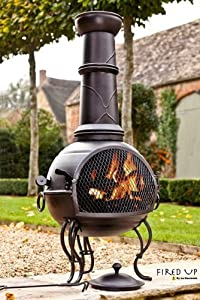 Free Cover 107cm Black Steel Chiminea Chimenea With Pull Out Grill