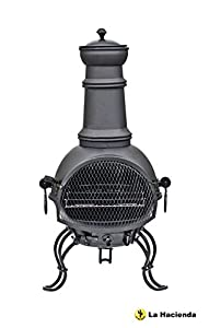 Free Cover 89cm Black Steel Chimenea Chiminea With Pull Out Cooking Grill