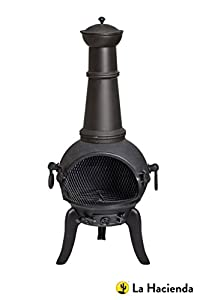 Free Cover Black Cast Iron Steel Large Chiminea Patio Heater Wood Burner by La Hacienda Ltd