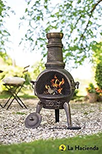 Free Cover La Hacienda Bronze Sierra 100 Cast Iron 95cm Chiminea Bbq Grill from La Hacienda