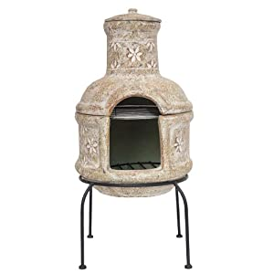 Free Cover La Hacienda Clay Chiminea Star Flower With Bbq Grill from La Hacienda