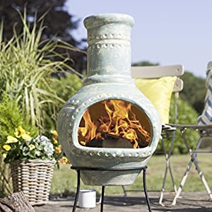 Free Cover La Hacienda Lumbre Blue Aqua Large Clay Chiminea Patio Heater from la Hacienda