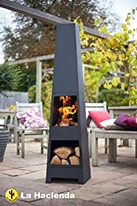 Free Cover La Hacienda Malmo Steel 150cm Chiminea Chimenea Patio Heater With Wood Store