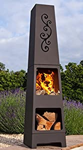 Free Cover La Hacienda Manoa Black Steel Garden Chiminea With Laser Cut Design 150cm High